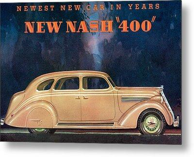 Nash 400 - Vintage Car Poster Metal Print by World Art Prints And Designs