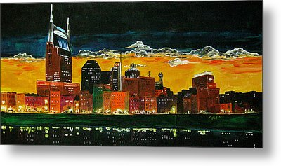 Nashville Night Metal Print by Vickie Warner