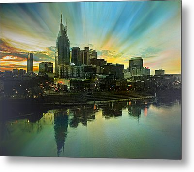 Nashville Over The Cumberland Metal Print by Steven  Michael