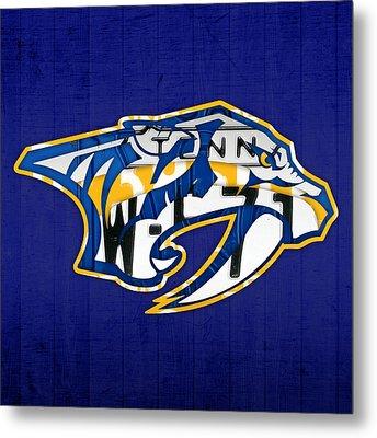 Nashville Predators Hockey Team Retro Logo Vintage Recycled Tennessee License Plate Art Metal Print by Design Turnpike