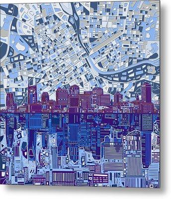 Nashville Skyline Abstract 8 Metal Print by Bekim Art