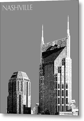 Nashville Skyline At And T Batman Building - Pewter Metal Print by DB Artist