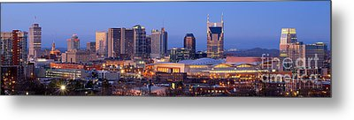 Nashville Skyline At Dusk Panorama Color Metal Print by Jon Holiday