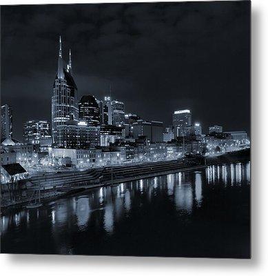 Nashville Skyline At Night Metal Print by Dan Sproul
