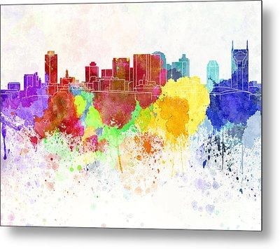 Nashville Skyline In Watercolor Background Metal Print by Pablo Romero