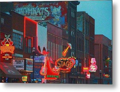Nashville Strip Lit Up Metal Print by Dan Sproul
