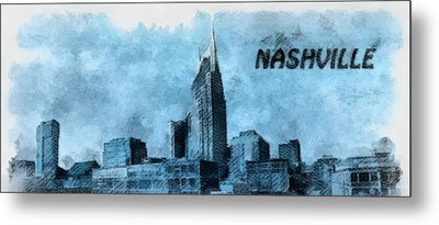 Nashville Tennessee In Blue Metal Print by Dan Sproul