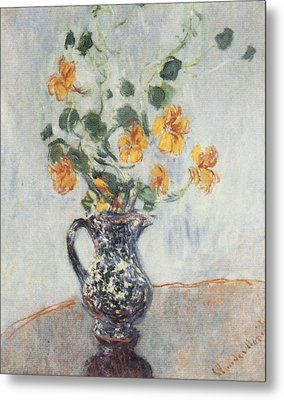 Nasturtiums In A Blue Vase Metal Print by Claude Monet