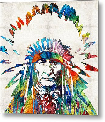 Native American Art - Chief - By Sharon Cummings Metal Print by Sharon Cummings