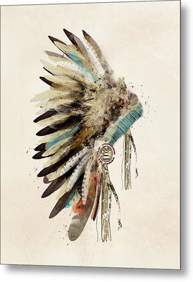 Native Headdress Metal Print by Bri B