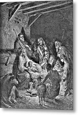 Nativity Bible Illustration Engraving Metal Print by