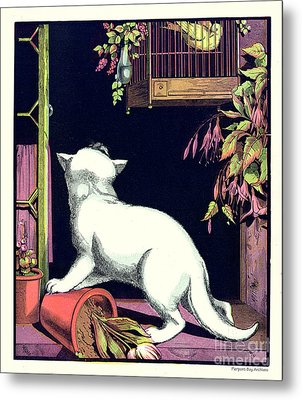 Naughty Cat Eyes A Yellow Bird In Cage Metal Print by Pierpont Bay Archives