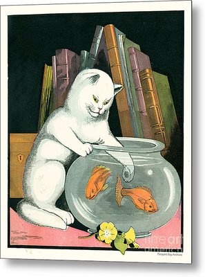Naughty Cat Fishes For Goldfish In Fish Bowl Metal Print by Pierpont Bay Archives