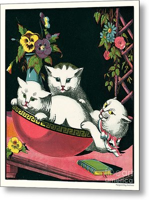 Naughty Cats Play In Antique Pink Bowl With Book And Sweet Williams Flowers Metal Print by Pierpont Bay Archives