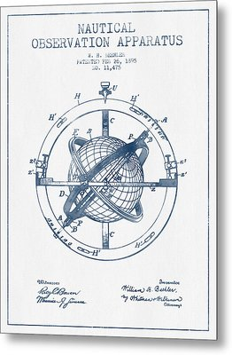 Nautical Observation Apparatus Patent From 1895  -  Blue Ink Metal Print by Aged Pixel