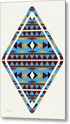 Navajo Blue Pattern Art Metal Print by Christina Rollo