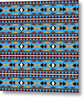 Navajo Blue Pattern Metal Print by Christina Rollo