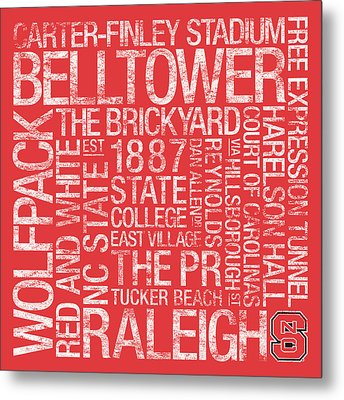 Nc State College Colors Subway Art Metal Print by Replay Photos