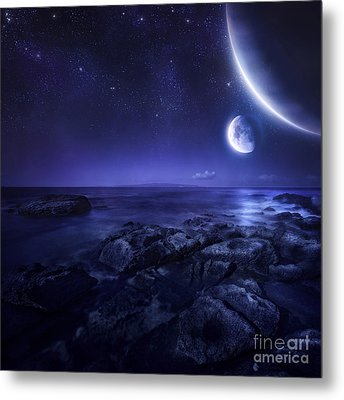 Nearby Planets Hover Over The Ocean Metal Print by Evgeny Kuklev