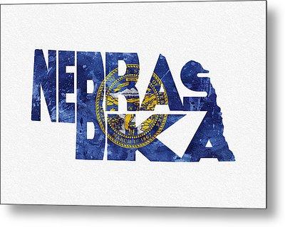 Nebraska Typographic Map Flag Metal Print by Ayse Deniz