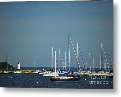 Ned's Point Lighthouse With Sailboats Metal Print by Amazing Jules