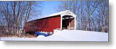Neet Covered Bridge Parke Co In Usa Metal Print by Panoramic Images