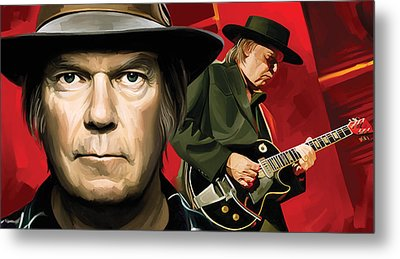 Neil Young Artwork Metal Print by Sheraz A