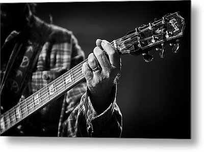 Close Up Of Neil Young's Hand Playing Guitar  Metal Print by Jennifer Rondinelli Reilly - Fine Art Photography