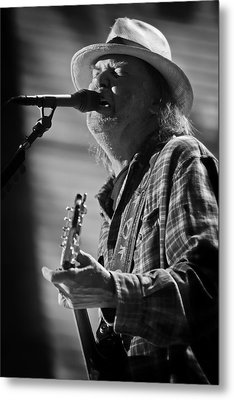 Neil Young On Guitar At Farm Aid 2010 Metal Print by The  Vault - Jennifer Rondinelli Reilly