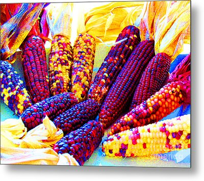Neon Indian Corn Metal Print by Tina M Wenger