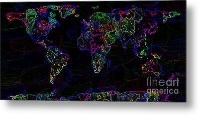 Neon World Map Metal Print by Zaira Dzhaubaeva