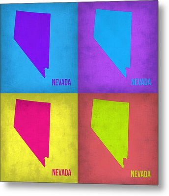 Nevada Pop Art Map 1 Metal Print by Naxart Studio