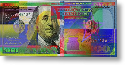2009 Series Pop Art Colorized U. S. One Hundred Dollar Bill  V.3.0 Metal Print by Serge Averbukh