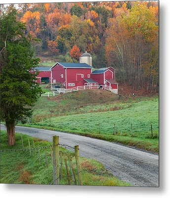 New England Farm Square Metal Print by Bill Wakeley