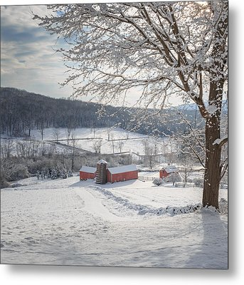 New England Winter Farms Morning Square Metal Print by Bill Wakeley