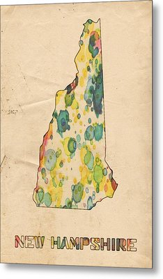 New Hampshire Map Vintage Watercolor Metal Print by Florian Rodarte