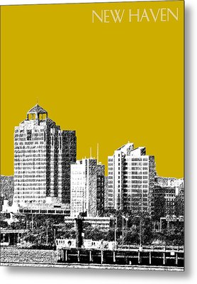New Haven Skyline - Gold Metal Print by DB Artist