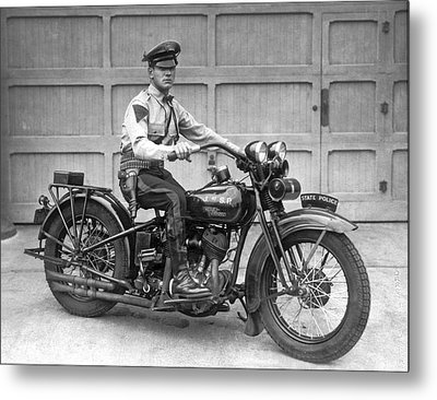 New Jersey Motorcycle Trooper Metal Print by Underwood Archives