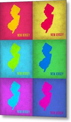 New Jersey Pop Art Map 1 Metal Print by Naxart Studio
