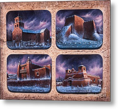 New Mexico Churches In Snow Metal Print by Ricardo Chavez-Mendez