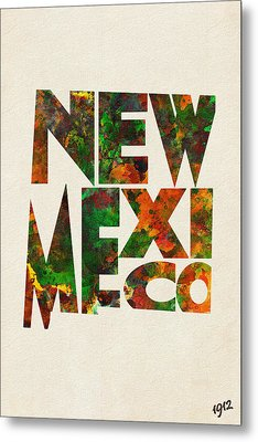 New Mexico Typographic Watercolor Map Metal Print by Ayse Deniz