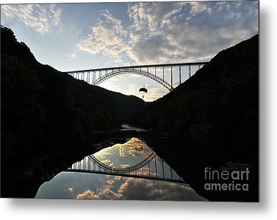 New River Bridge -  Base Jumper Metal Print by Dan Friend