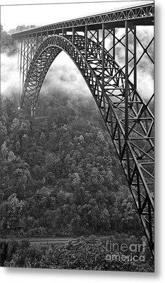 New River Gorge Bridge Black And White Metal Print by Thomas R Fletcher