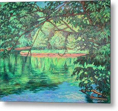 New River Reflections Metal Print by Kendall Kessler