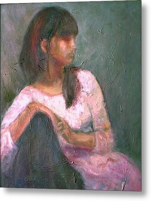 New Year's Blossom - Textural Original Oil On Canvas Portrait Metal Print by Quin Sweetman