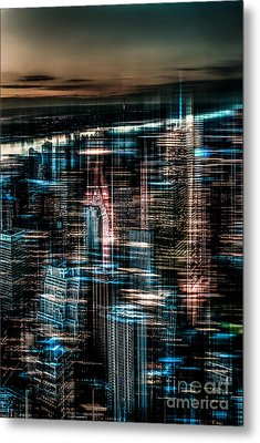 New York - The Night Awakes - Dark Metal Print by Hannes Cmarits