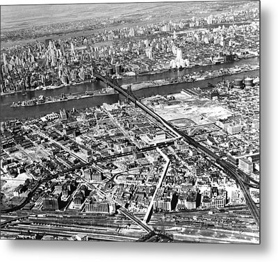 New York 1937 Aerial View  Metal Print by Underwood Archives