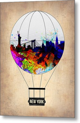 New York Air Balloon Metal Print by Naxart Studio