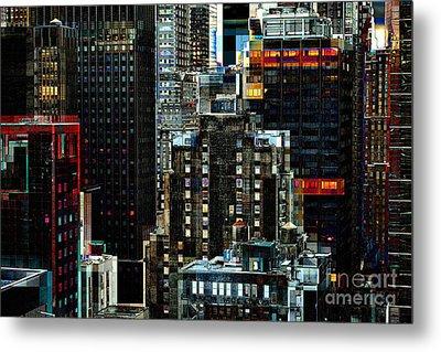 New York At Night - Skyscrapers And Office Windows Metal Print by Miriam Danar