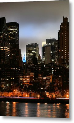 New York City Blue Metal Print by JC Findley